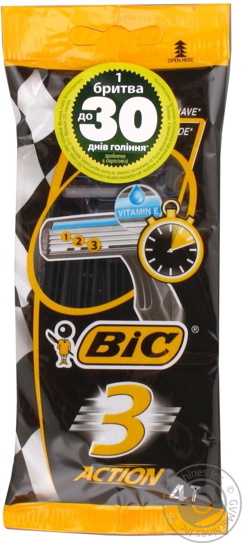 Станок бритвенный Bic Action 3 одноразовые с витамином Е 4шт