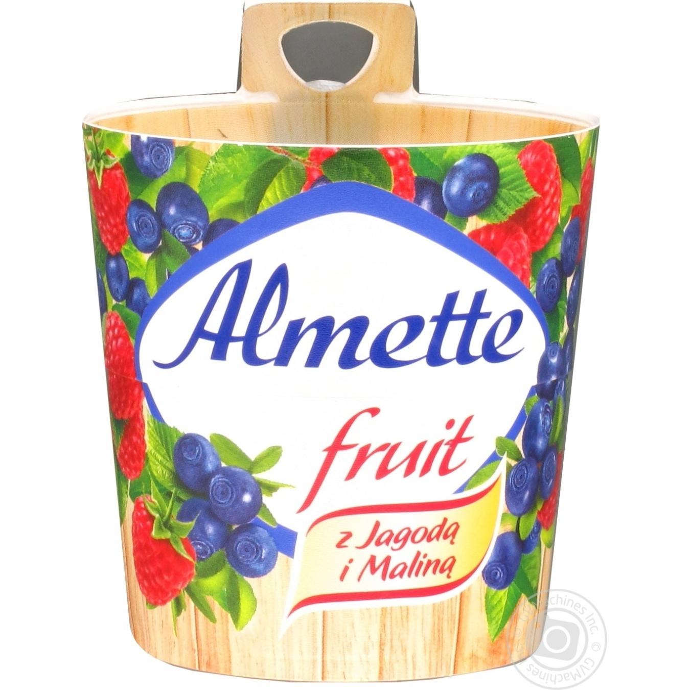 Творог-десерт Almette Hochland фруктовый с черникой и малиной 150г