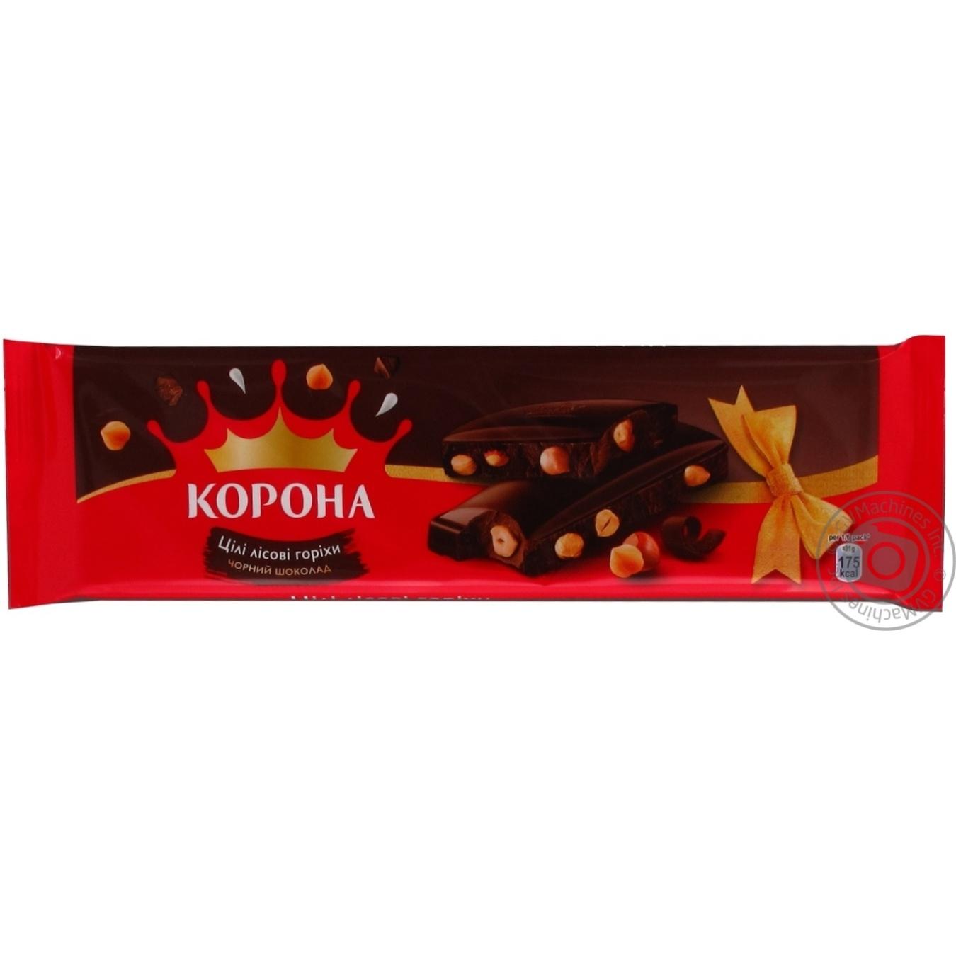 Шоколад Корона черный с лесными орехами 185г