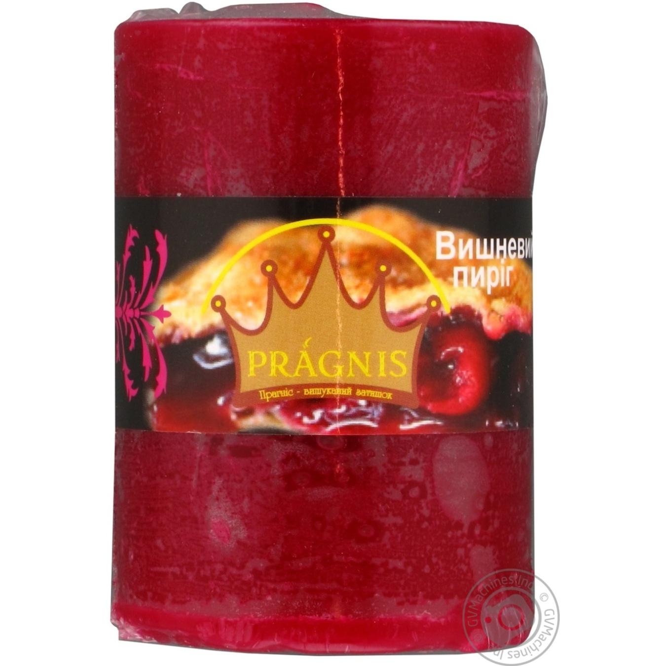 Свеча Pragnis цилиндр вишневый пирог 55х8см