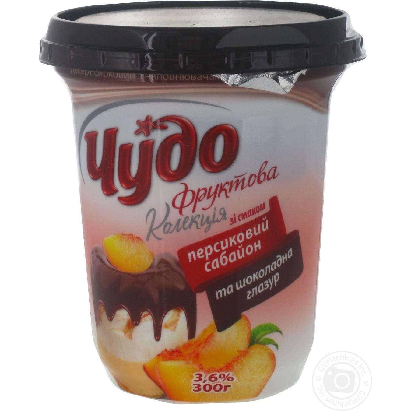 Десерт творожный Чудо Персиковый сабайон и шоколадная глазурь 3.6% 300г