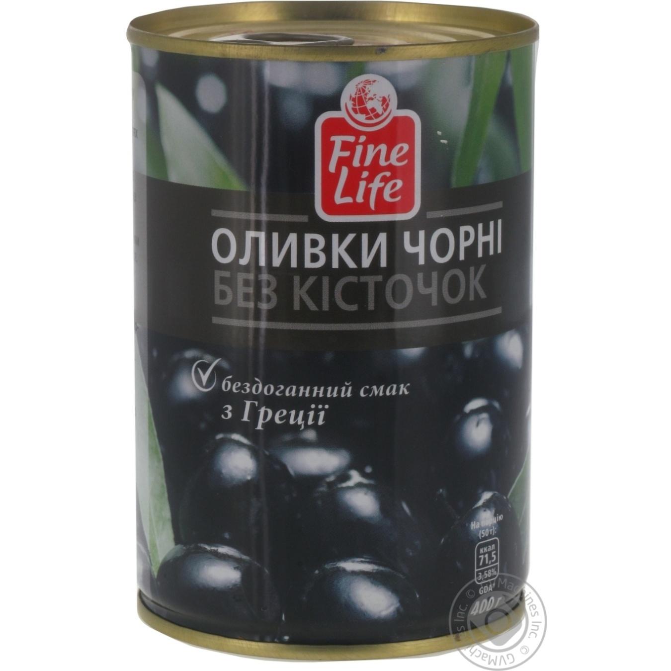 Оливки Файн Лайф черные без косточки 425мл