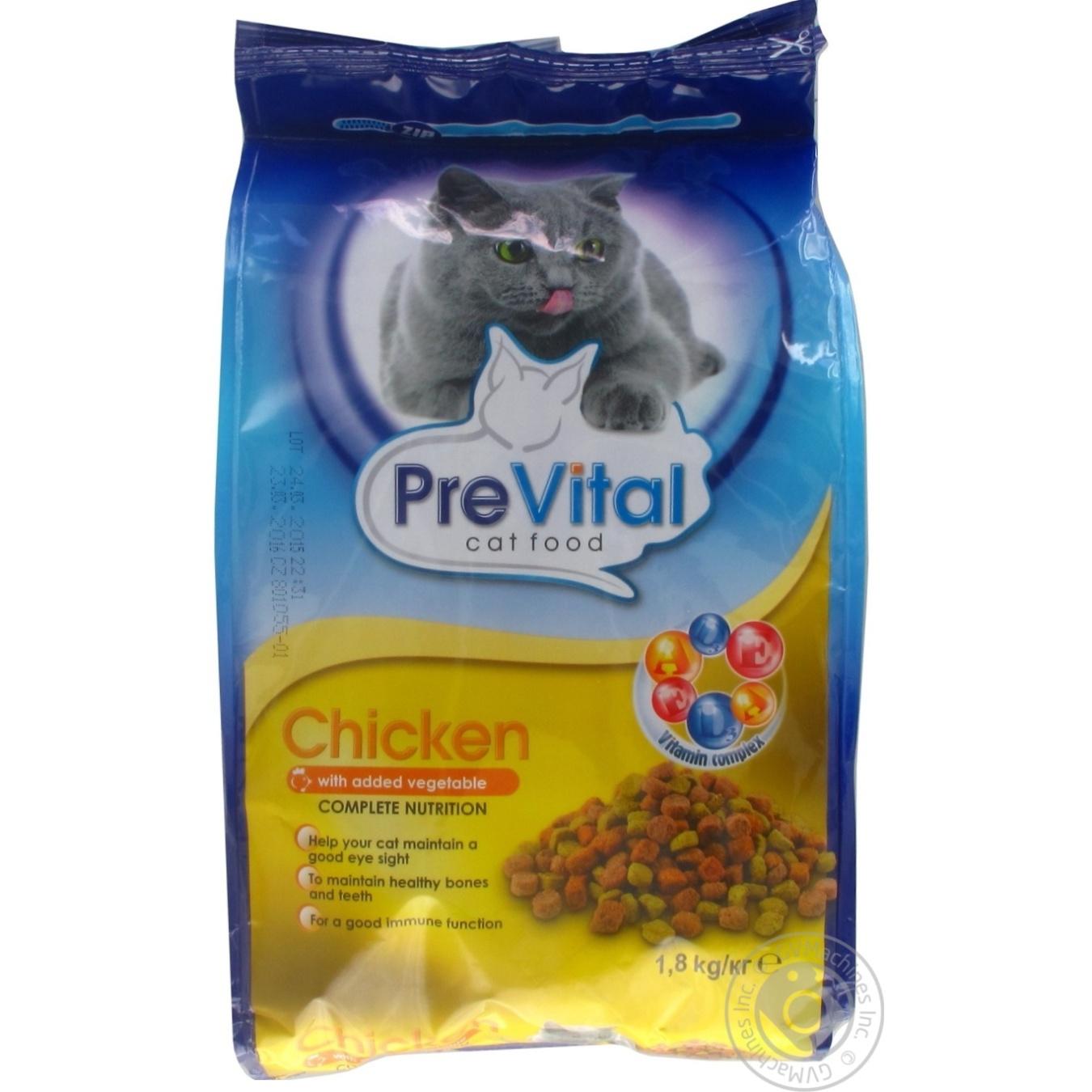 Сухой корм PreVital с мясом курицы и овощами для взрослых котов 1,8кг