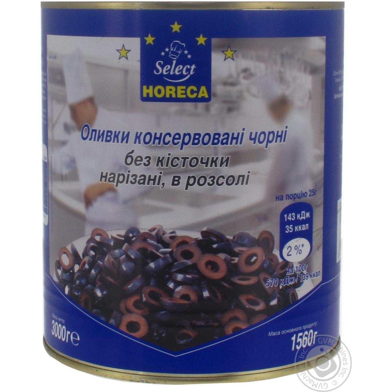 Оливки консервированные Horeca Select черные без косточек нарезанные в рассоле 3кг