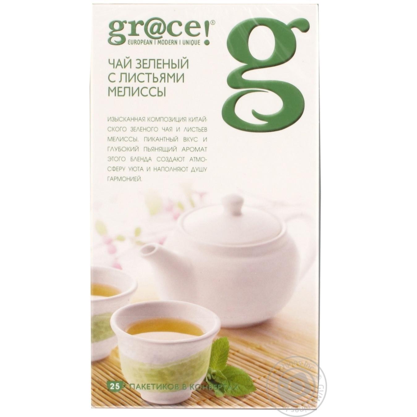 Зеленый чай Грэйс! с листьями мелиссы в пакетиках 25х1.5г