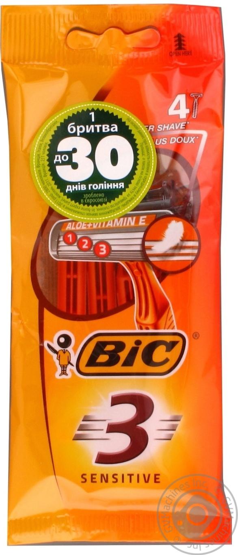 Станок бритвенный Bic 3 с алоэ вера и витамином Е для чувствительной кожи 4шт