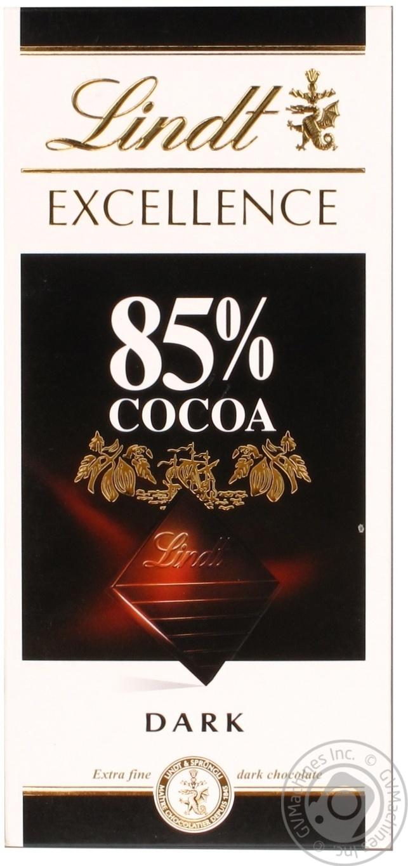 Шоколад черный Линдт Экселенс швейцарский горький в плитках 85% 100г