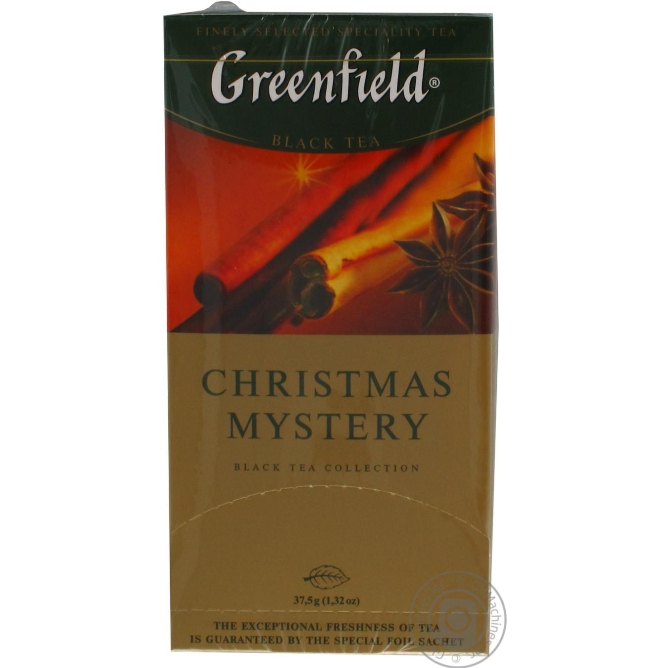 Чай Гринфилд Кристмас Мистери черный с пряностями и ароматом цитрусовых 2г х 25шт