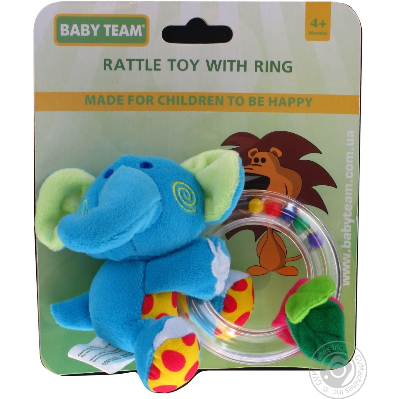 Игрушка-погремушка Baby Team с кольцом Слон