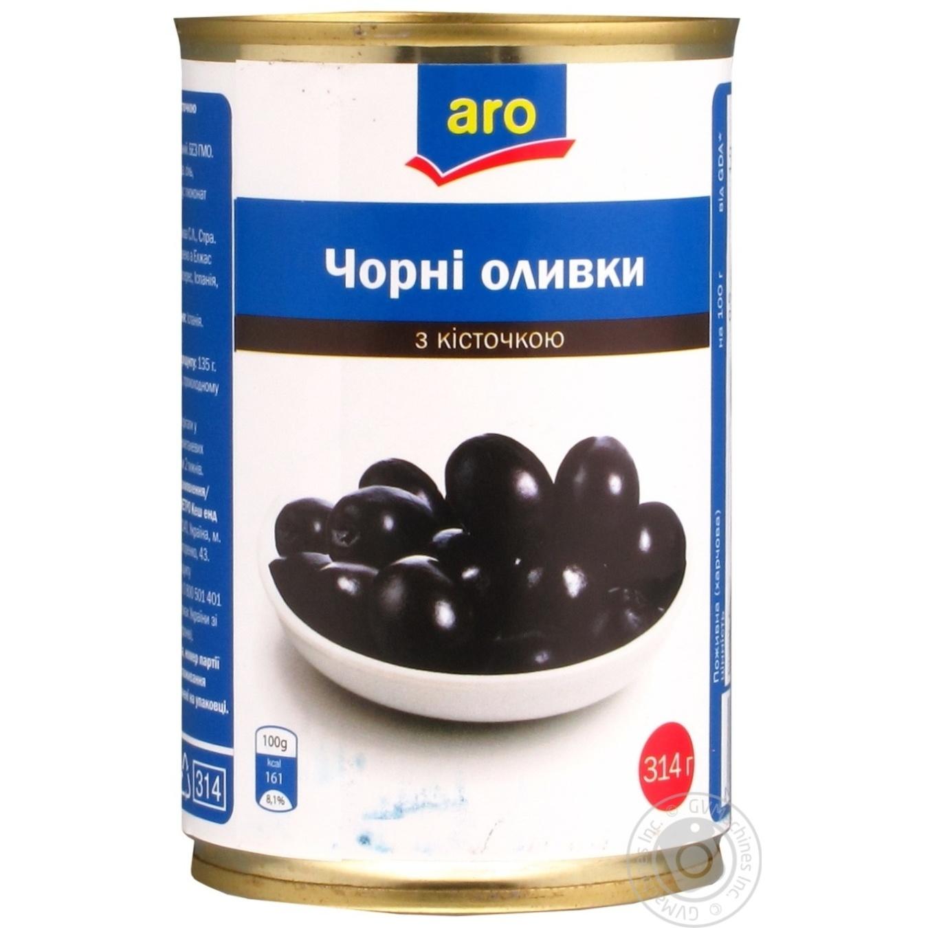 Оливки черные Aro с косточкой 314г