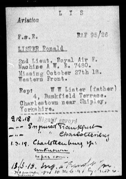 Lister, Ronald, 2nd Lt. R.A.F., I.R.C. card.JPG