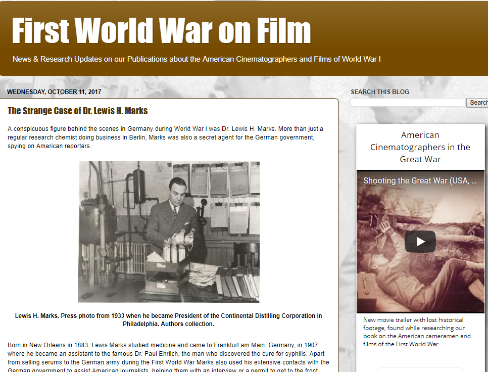 First World War on Film (News & Research Updates on our