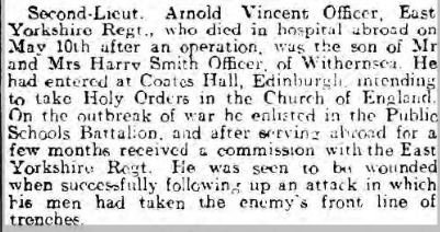Officer, 2nd Lt. Arnold Vincent, Hull Daily Mail 19.5.1917.JPG