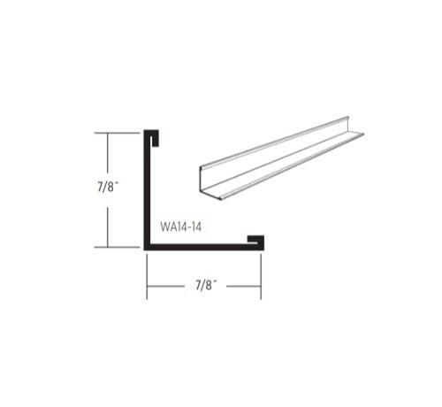 12 ft x 7/8 in x 7/8 in CertainTeed Traditional Standard Wall Angle / White - WA14-14