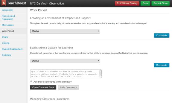 TeachBoost: A Teacher Evaluation and Teacher Development Tool