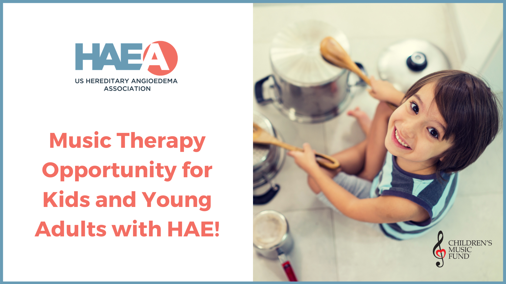 The HAEA is offering Scholarships for Youth and Young Adults  with HAE to enroll in a Music Therapy Program.
