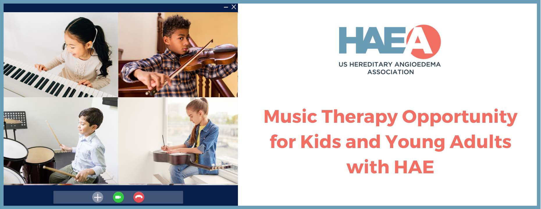 Music Therapy Opportunity for Kids and Young Adults with HAE