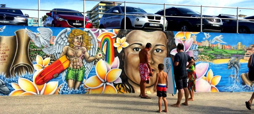 bondi beach sea wall art
