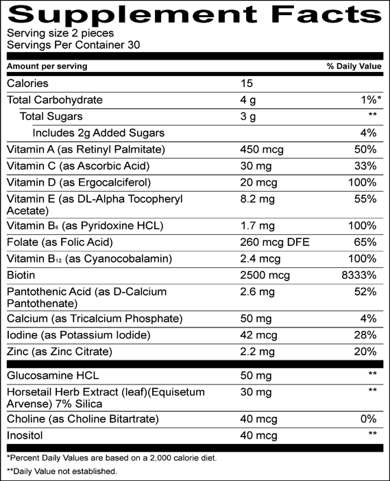 Candilocks Chewable Hair Vitamins - Supplement Facts