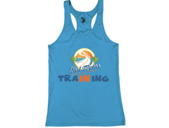 "Ladies Electric Blue Racerback Tech Tank ""In Training"""
