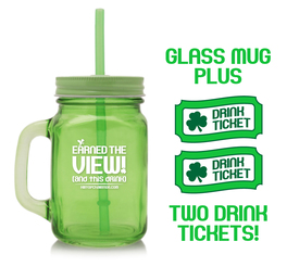 15 oz. Glass Mason Jar + 2 Drink Tickets