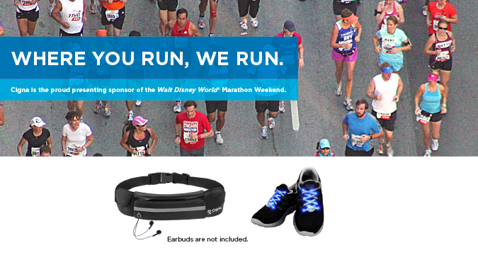 Visit our booth for a free waterproof running belt or light-up laces. Image