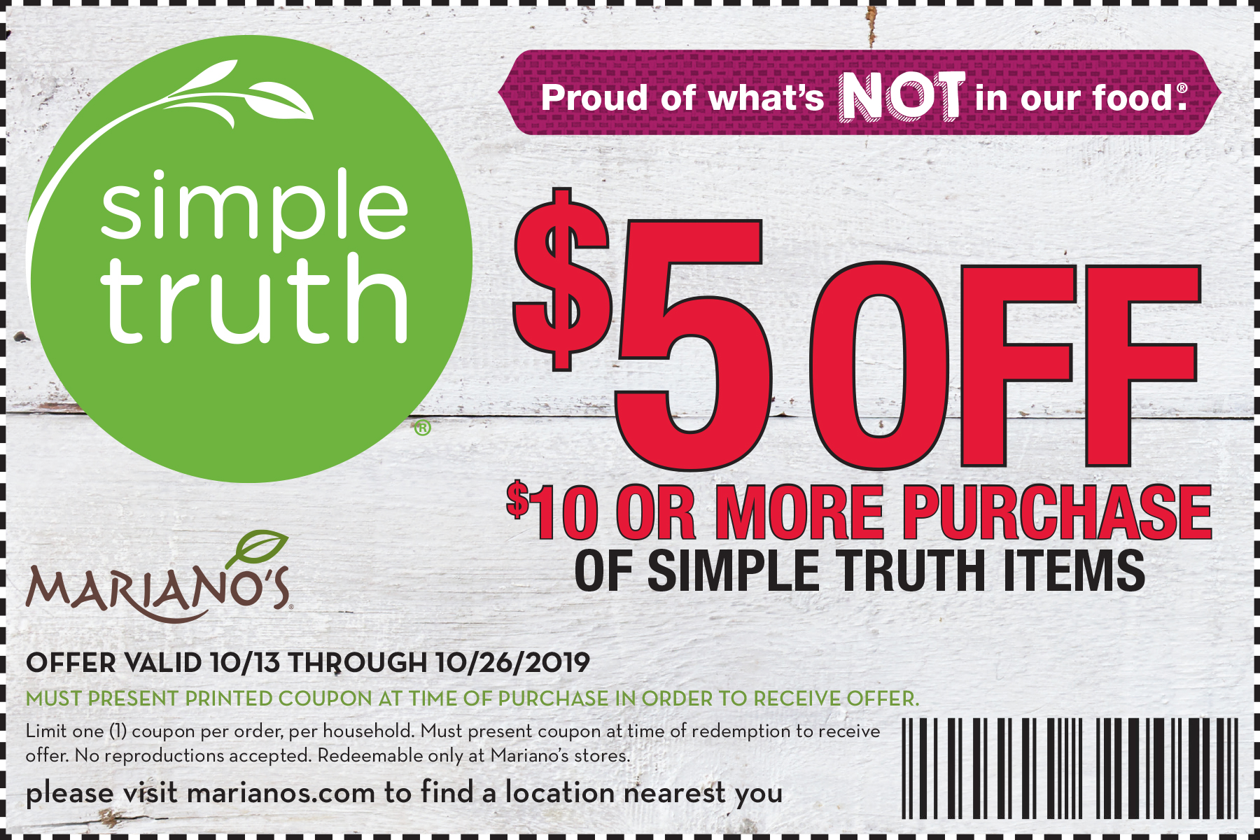 $5 Off Simple Truth at Mariano's