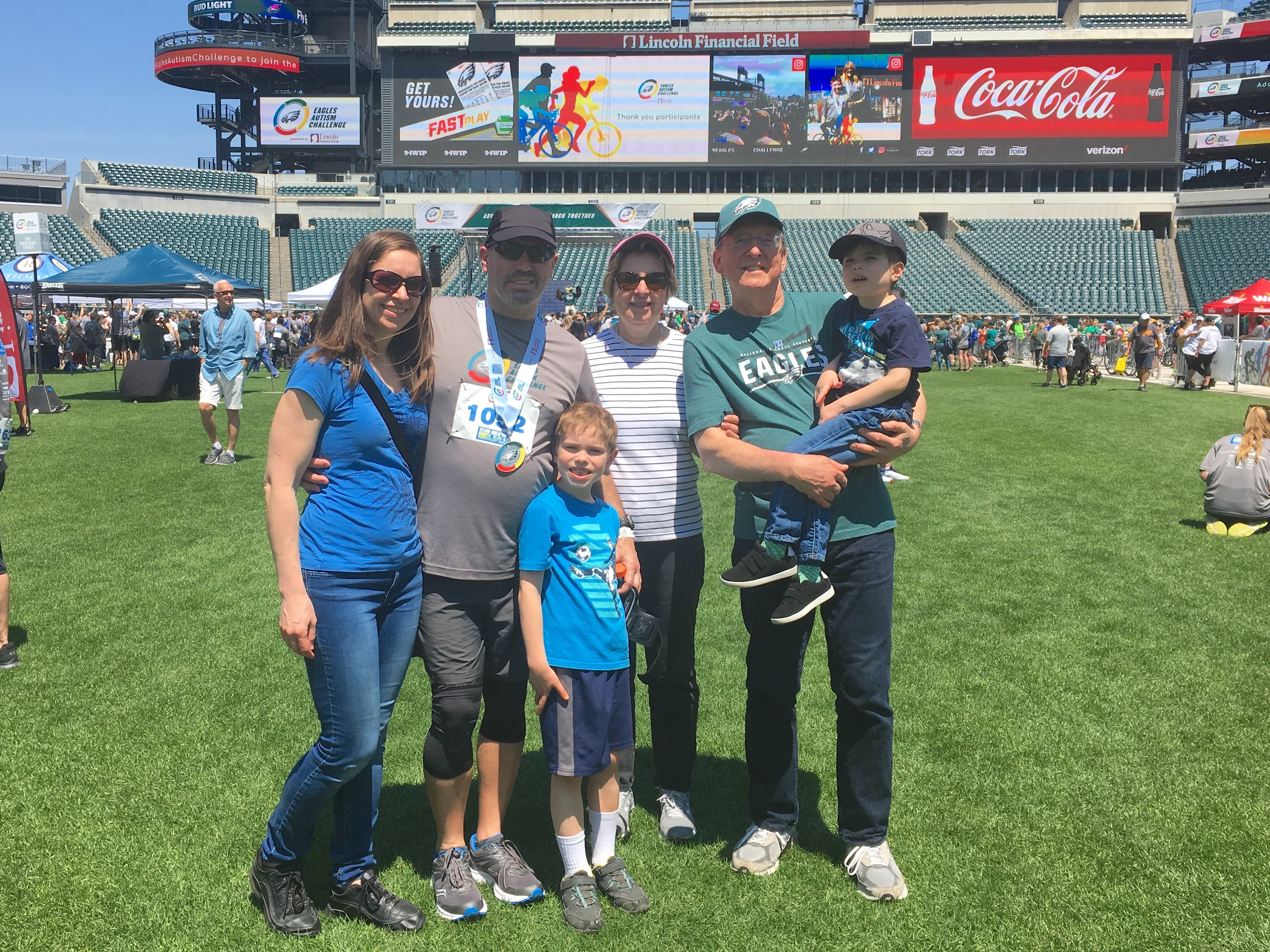 My family at 2019 Eagles Autism Challenge