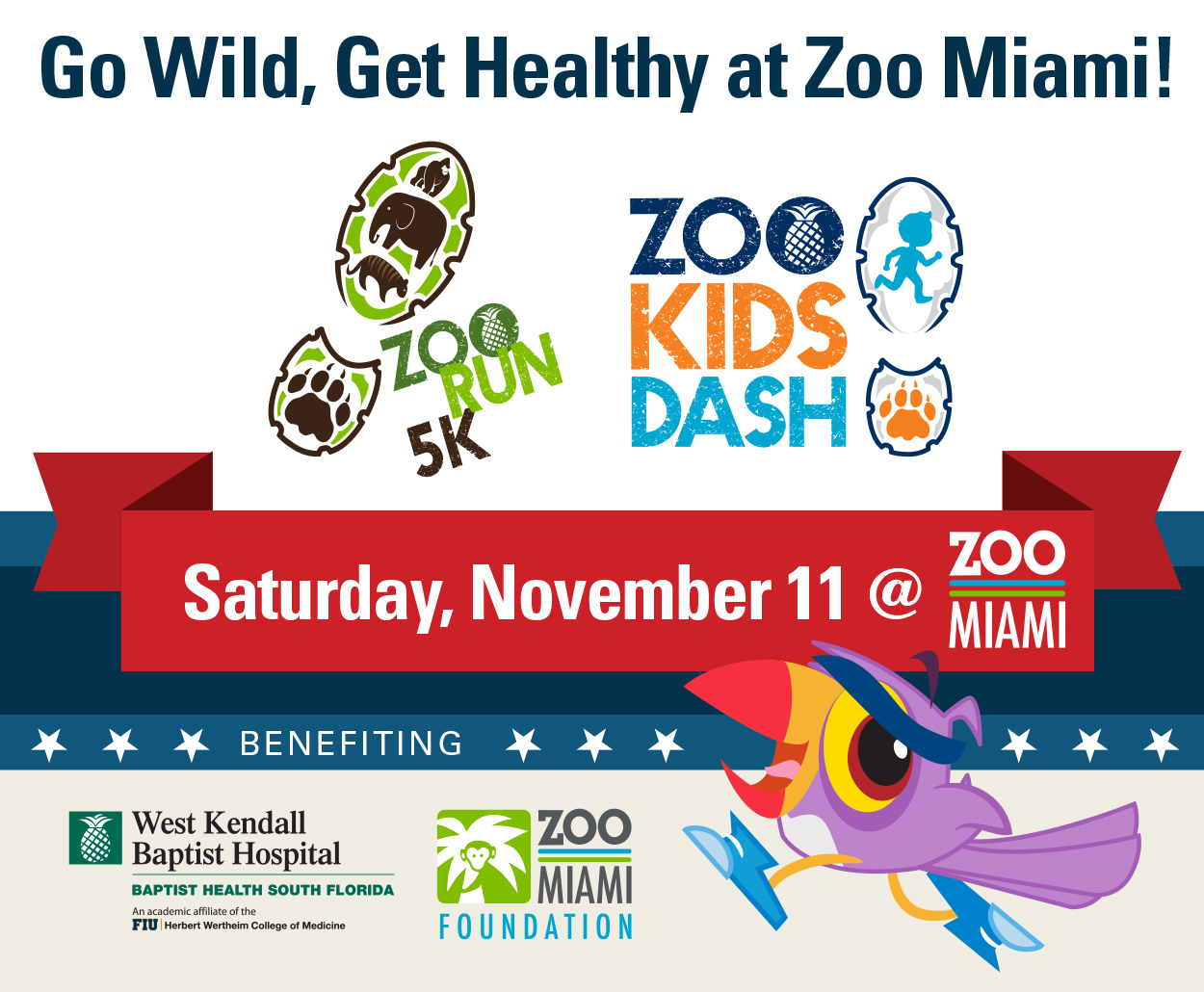 2017 ZooRun5K & ZooKidsDash benefiting West Kendall Baptist Hospital and Zoo Miami Foundation