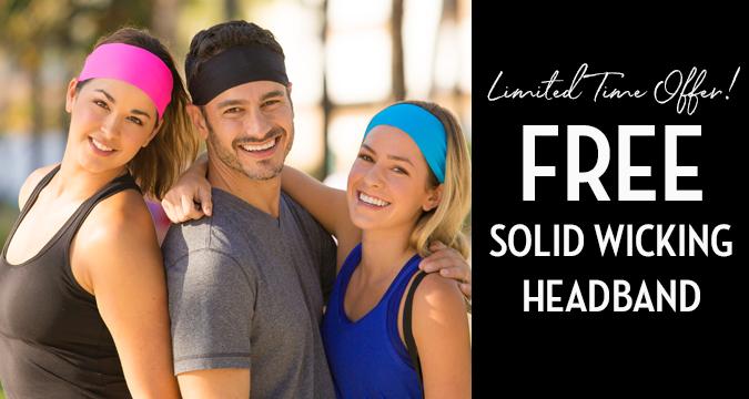 Free Solid Color No-Slip Headband Logo