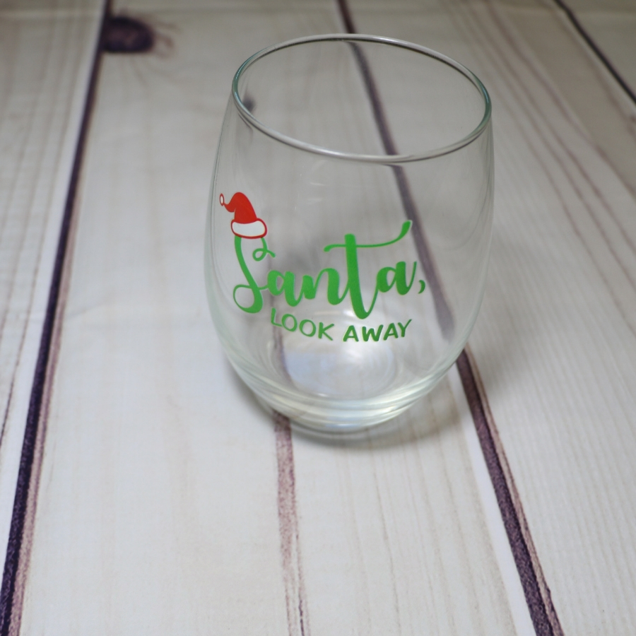 Santa Look Away Wine Glass