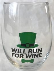 "Wine Glass - ""Will Run for Wine"""