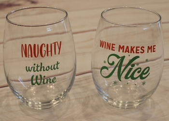 Naughty or Nice Wine Glass