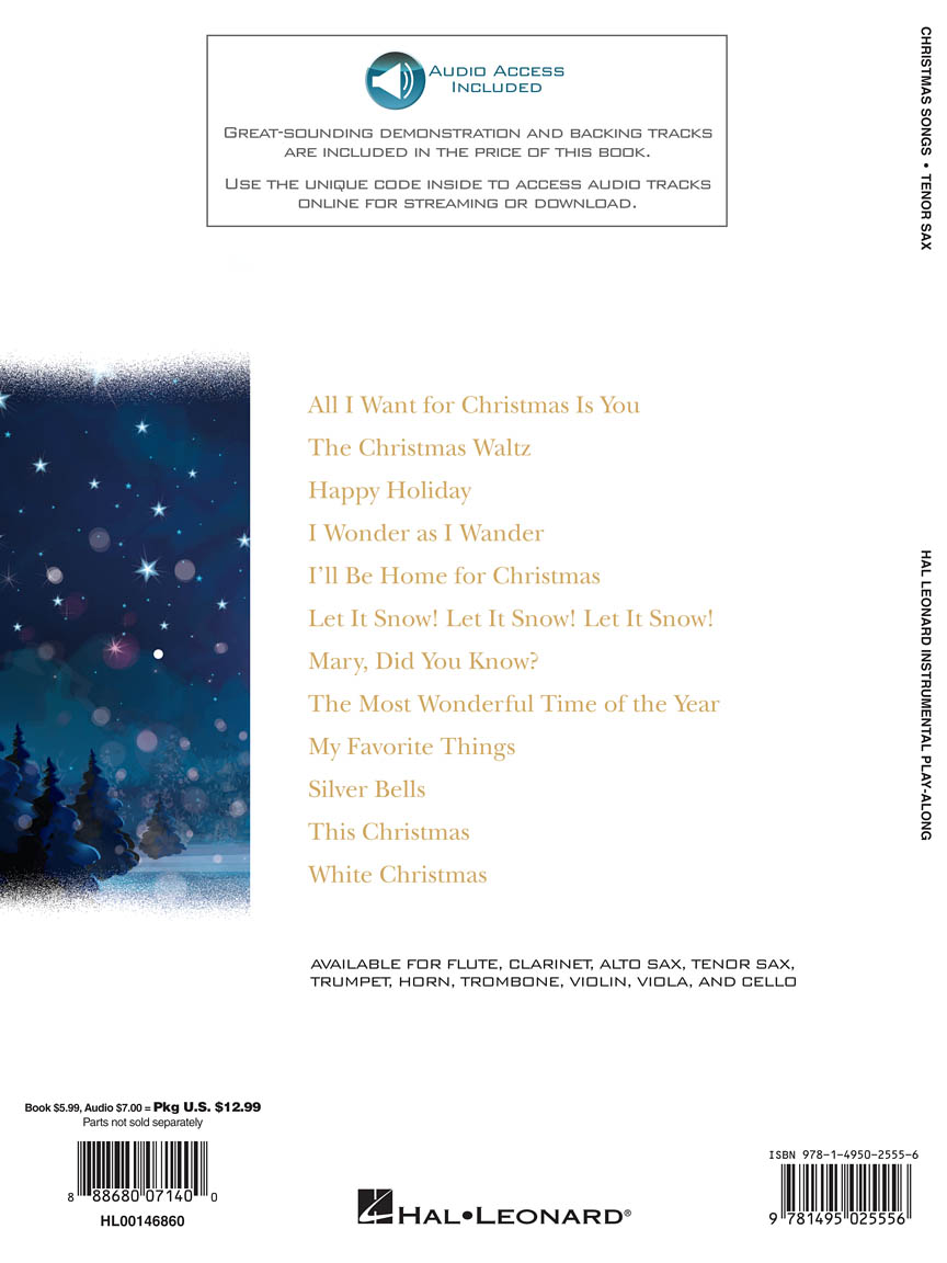 Christmas Songs for Tenor Sax : Instrumental Play-Along (Tenor Sax) : Books  with Online Audio : Tenor Sax : # 146860