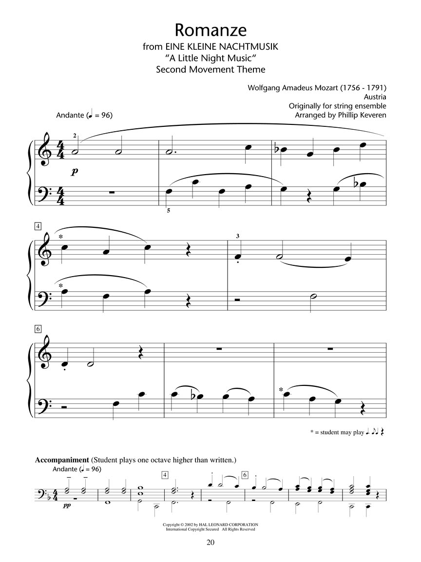 an analysis of the 1st movement to mozarts eine kleine nachtmusik Published in 1787, this is a piece composed for 2 violins, viola, cello movement iii is a minuet/trio the minuet (or menuetto) is in the key of g and is composed of two eight-bar phrases which are both repeated.