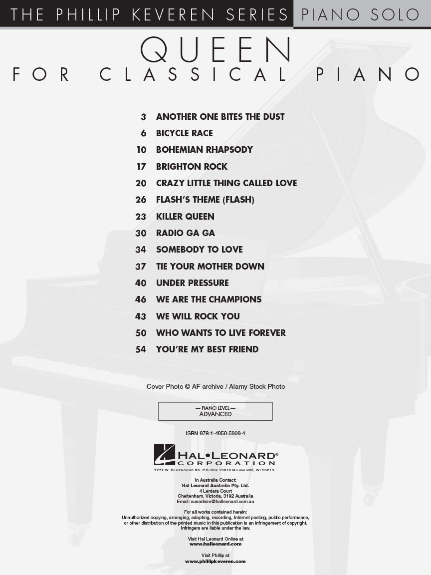 Queen for Classical Piano : arr  Phillip Keveren The Phillip Keveren Series  Piano Solo : arr  Phillip Keveren The Phillip Keveren Series : Piano Solo