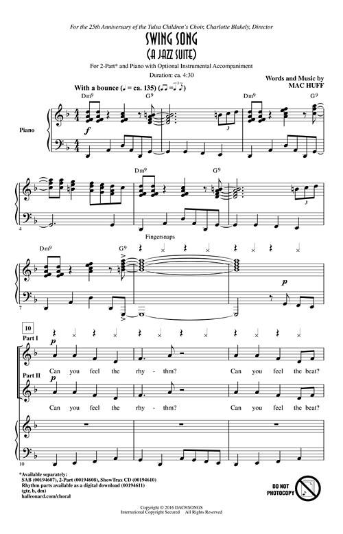 Swing Song (A Jazz Suite) Sheet Music by Mac Huff (SKU