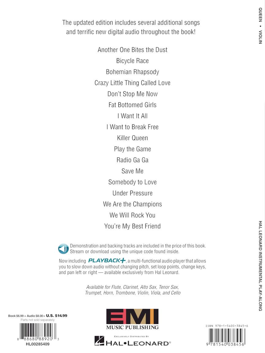 Violin Instrumental PlayAlong Updated Edition Book//Online Audio 285409 Queen
