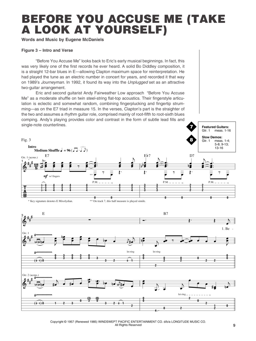 Eric Clapton - From the Album Unplugged (Guitar Tab) : by Wolf Marshall  Signature Licks : Book/Online Audio : # 695250