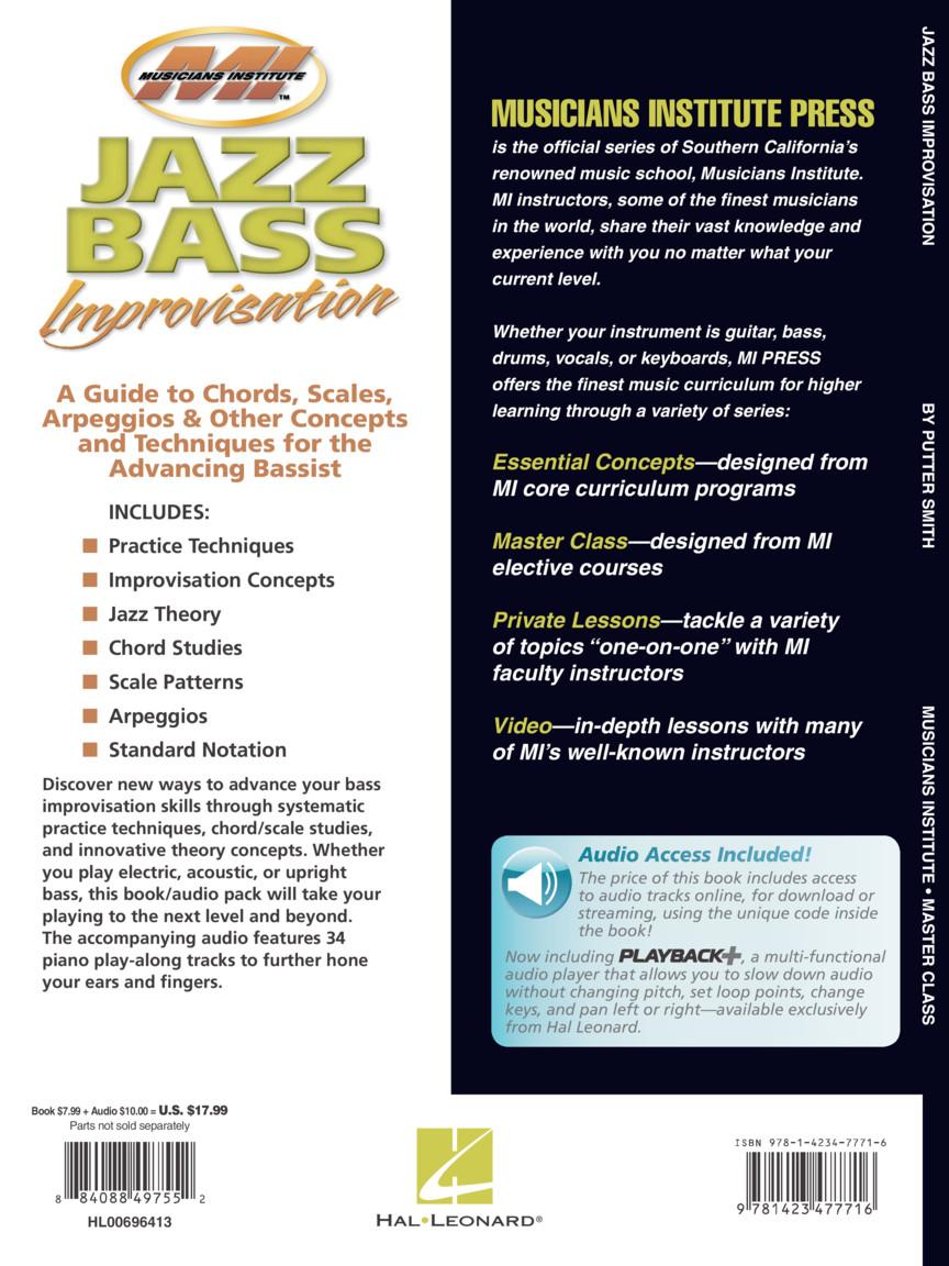 Jazz Bass Improvisation : Master Class Series : by Putter Smith Master  Class : Book/Online Audio : # 696413