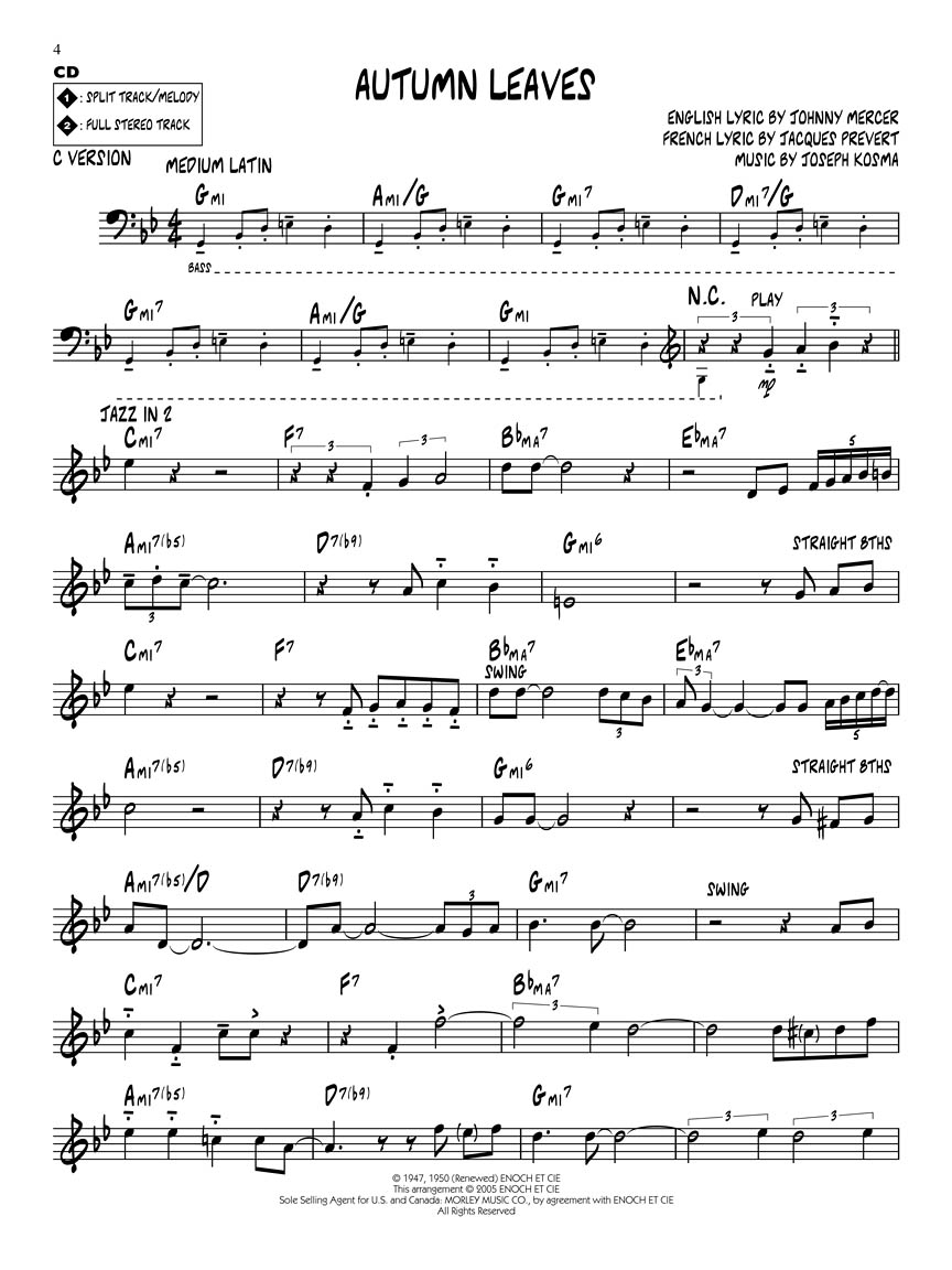 Autumn Leaves Sheet Music By Miles Davis Accordion 52169 - Imagez co