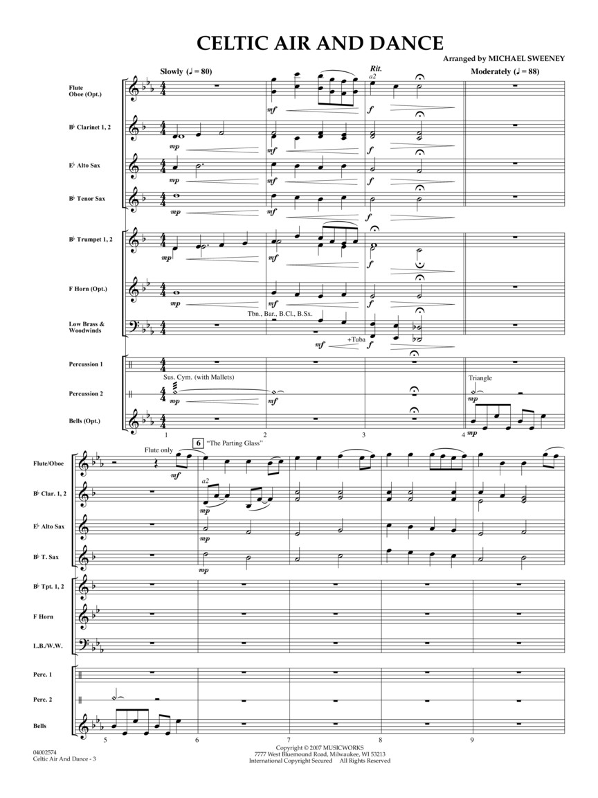 Celtic Air and Dance (Score & Parts) : arr  Michael Sweeney : Score & Parts  : # 4002573