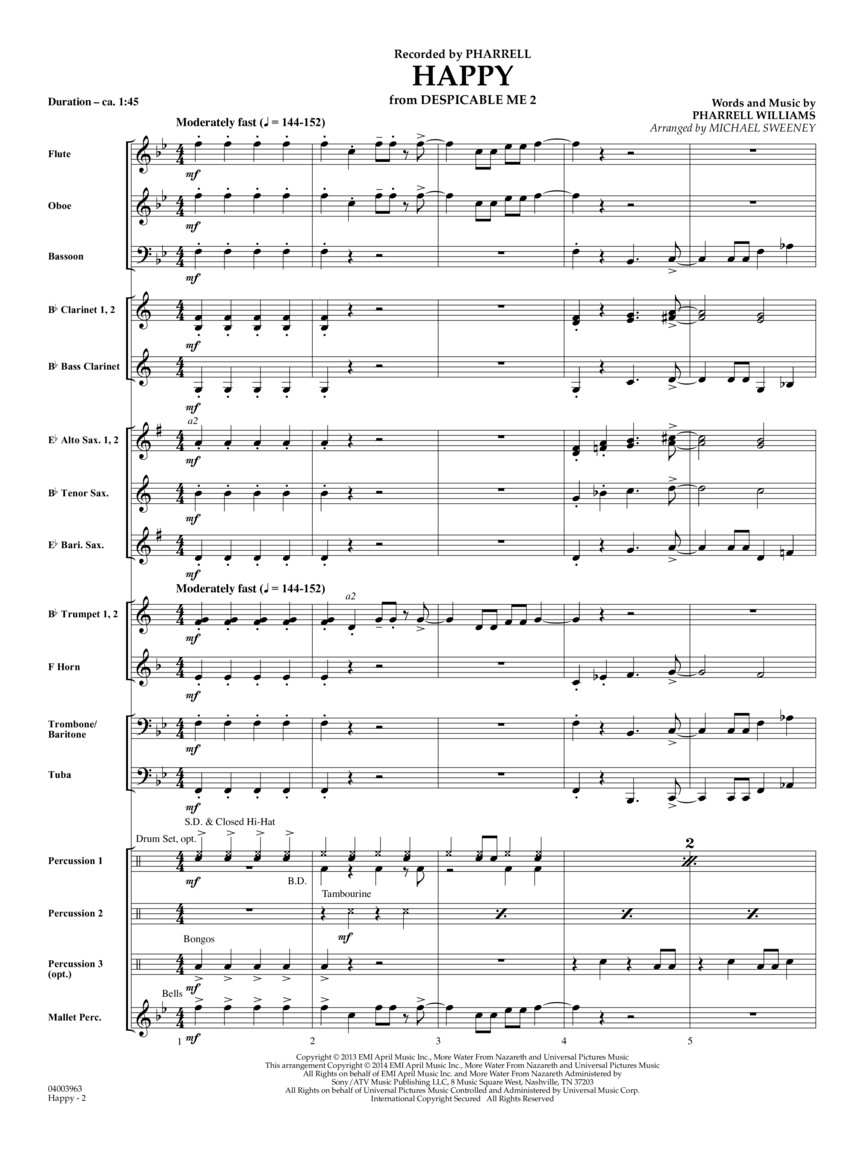 Happy (from Despicable Me 2) (Score & Parts) : Pharrell Williams/arr   Michael Sweeney : # 4003962