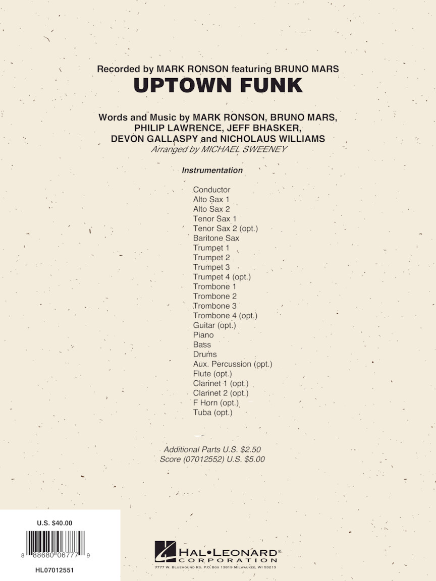 Uptown Funk (Score & Parts) : arr  Michael Sweeney : # 7012551
