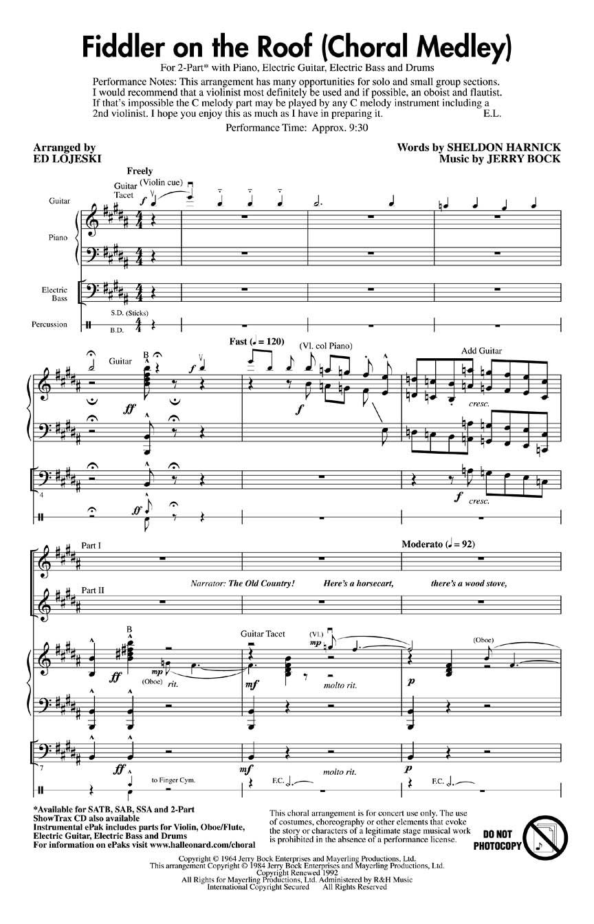 Fiddler On The Roof Choral Medley 2 Part Arr Ed