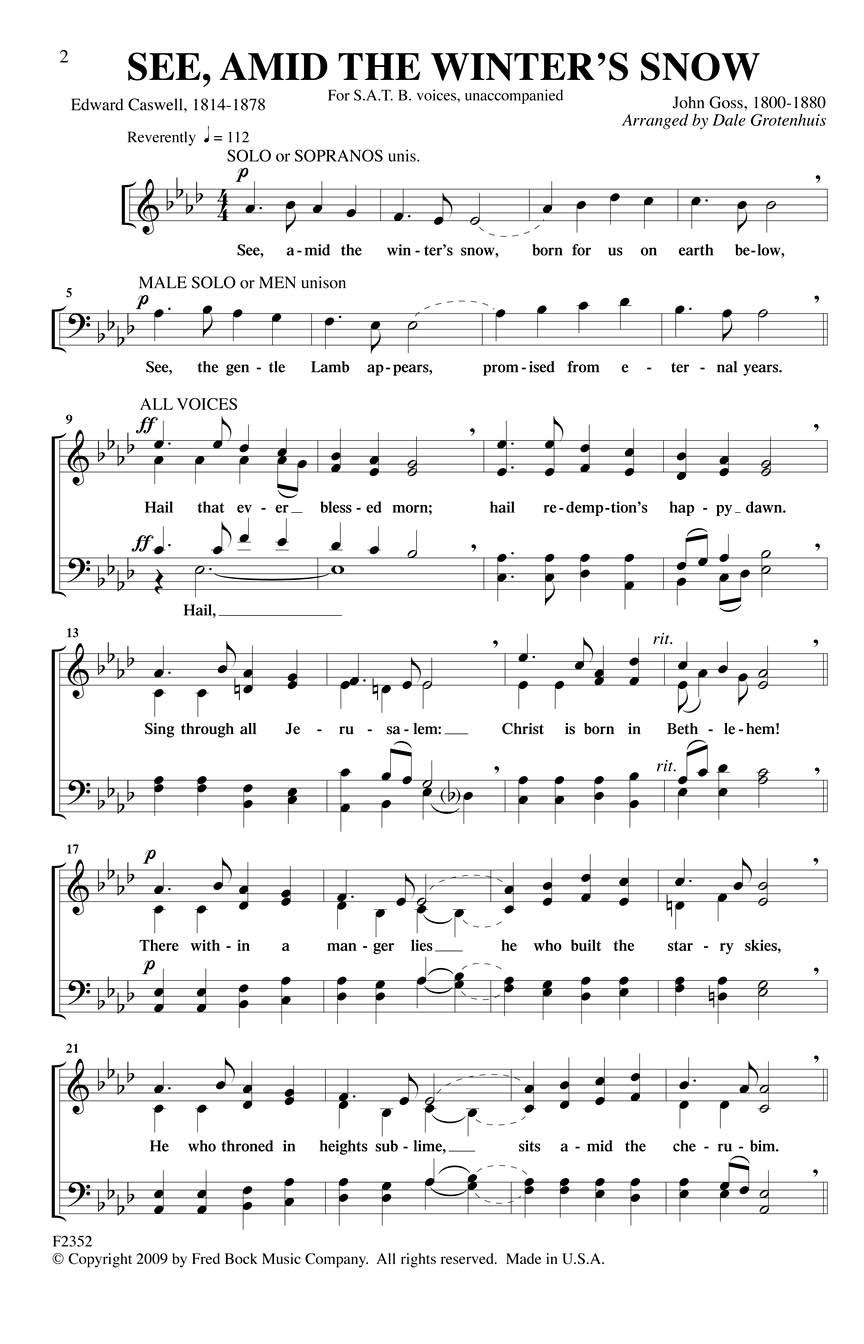 See Amid The Winters Snow Satb A Cappella Arr Dale Grotenhuis Satb A Cappella F2352