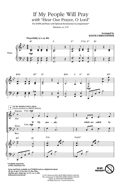 If My People Will Pray W/Hear Our Prayer Sheet Music by