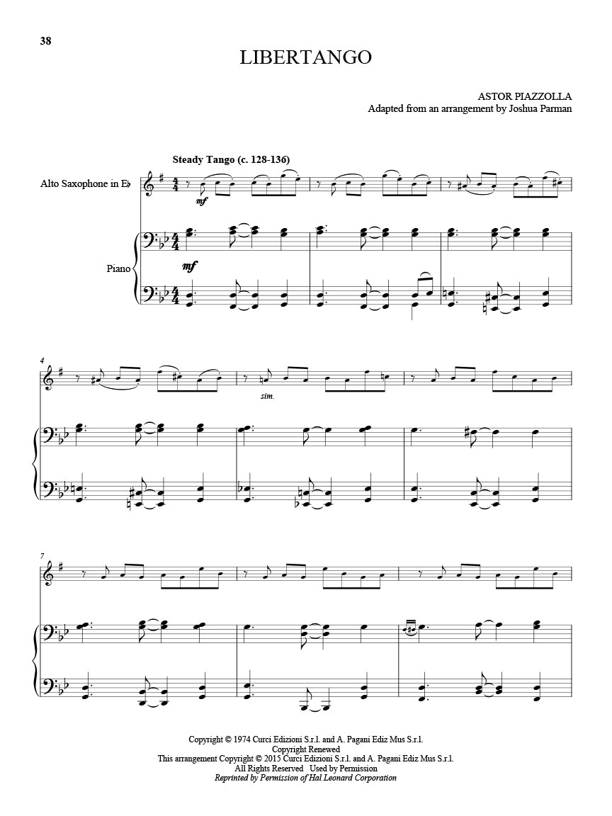 25 Piazzolla Tangos for Alto Saxophone and Piano (Score and Solo Part) :  Score and Part : # M051108107