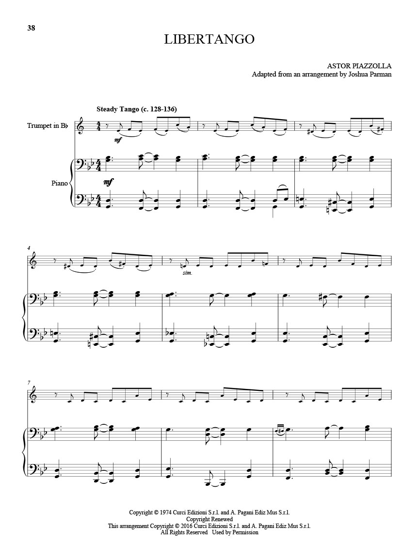 25 Piazzolla Tangos for Trumpet and Piano (Score and Solo Part) : #  M051108114