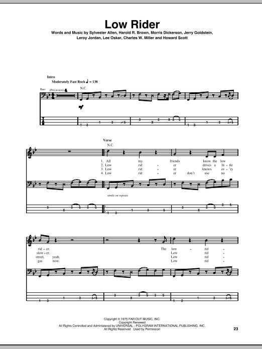 Tablature guitare Low Rider de War - Tablature Basse